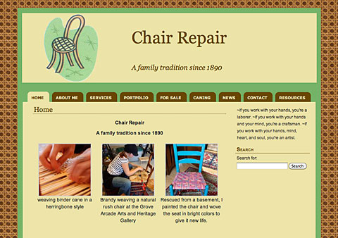 Screen shot of the home page of Brandy's chair repair website.